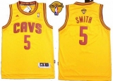 Revolution 30 Cleveland Cavaliers #5 JR Smith Yellow The Finals Patch Stitched NBA Jersey