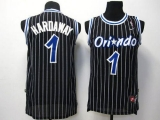 Orlando Magic #1 Penny Hardaway Black Throwback Stitched NBA Jersey