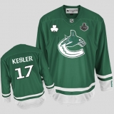Vancouver Canucks 2011 Stanley Cup Finals St Patty\'s Day #17 Ryan Kesler Green Stitched NHL Jersey