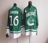 Vancouver Canucks St Patty\'s Day #16 Trevor Linden Green Stitched NHL Jersey