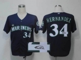 Autographed MLB Seattle Mariners #34 Felix Hernandez Navy Blue Cool Base Stitched Jersey