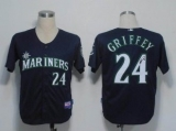 MLB Seattle Mariners #24 Ken Griffey Stitched Blue Cool Base Autographed Jersey