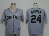MLB Seattle Mariners #24 Ken Griffey Stitched Grey Cool Base Autographed Jersey