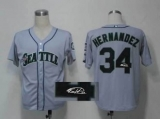 MLB Seattle Mariners #34 Felix Hernandez Stitched Grey Throwback M&N Autographed Jersey