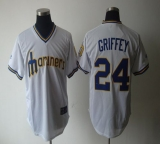 Seattle Mariners #24 Ken Griffey White Cooperstown Throwback Stitched MLB Jersey