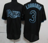 Tampa Bay Rays #3 Evan Longoria Black Fashion Stitched MLB Jersey