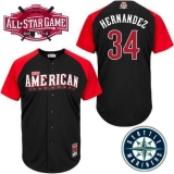 Seattle Mariners #34 Felix Hernandez Black 2015 All-Star American League Stitched MLB Jersey