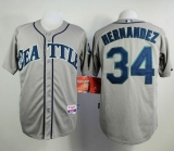 Seattle Mariners #34 Felix Hernandez Grey Cool Base Stitched MLB Jersey