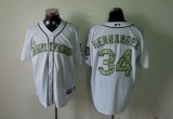 Seattle Mariners #34 Felix Hernandez White USMC Cool Base Stitched MLB Jersey