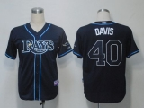 Tampa Bay Rays #40 Wade Davis Dark Blue Cool Base Stitched MLB Jersey