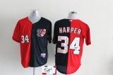 Washington Nationals #34 Bryce Harper Blue Red Split Fashion Stitched MLB Autographed Jersey