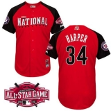 Washington Nationals #34 Bryce Harper Red 2015 All-Star National League Stitched MLB Jersey