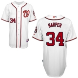 Washington Nationals #34 Bryce Harper White Cool Base Stitched MLB Jersey