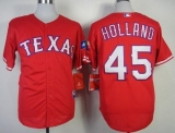 Texas Rangers #45 Derek Holland Stitched MLB Red Cool Base Jersey
