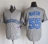 Toronto Blue Jays #55 Russell Martin Grey New Cool Base Stitched MLB Jersey