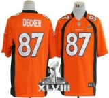 NEW Broncos #87 Eric Decker Orange Team Color Super Bowl XLVIII NFL Game Jerseys