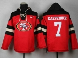 San Francisco 49ers #7 Colin Kaepernick Black_Red Sawyer Hooded Sweatshirt Stitched Jersey