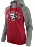 Women\'s San Francisco 49ers Nike All Time Raglan Pullover Performance Hoodie - Scarlet Heathered Gray