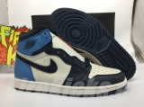"2020.7 Normal Authentic quality and Low price Air Jordan 1 High ""Obsidian""Men Shoes - LJR"