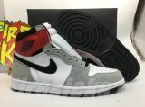 "2020.7 Normal Authentic quality and Low price Air Jordan 1 High ""Smoke Grey Red"" Men And GS Shoes - LJR"