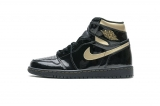 "2020.12 (better quality)Super Max Perfect Air Jordan 1 ""Patent Black Metallic Gold"" Men And Women Shoes(no worry!good quality,95%Authentic) -GET (9)"
